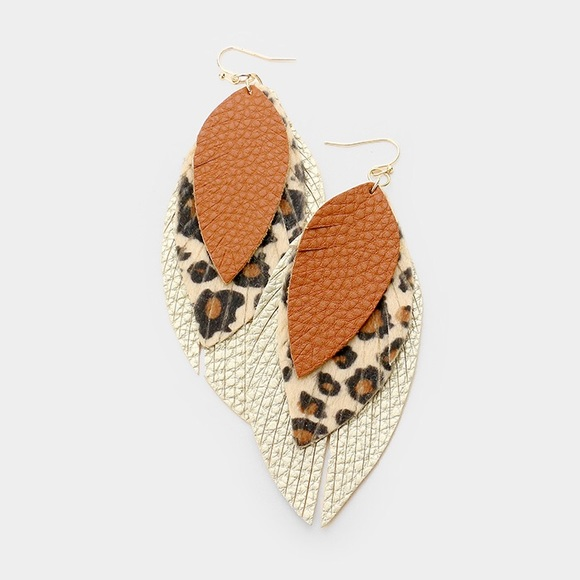 Jewelry - Glitter Faux Leather Leaf Fringe Dangle Earrings